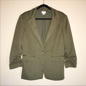 Eci Soft Blazer with Ruched Sleeves